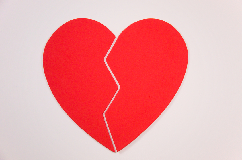 "A heart broken into two pieces. Think: ""Break up""."