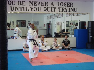 2nd Degree Black Belt Mr. Vialdores performing his form during tournament