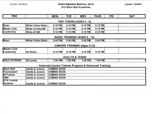 Class Schedule for Performance Martial Arts - Hahira