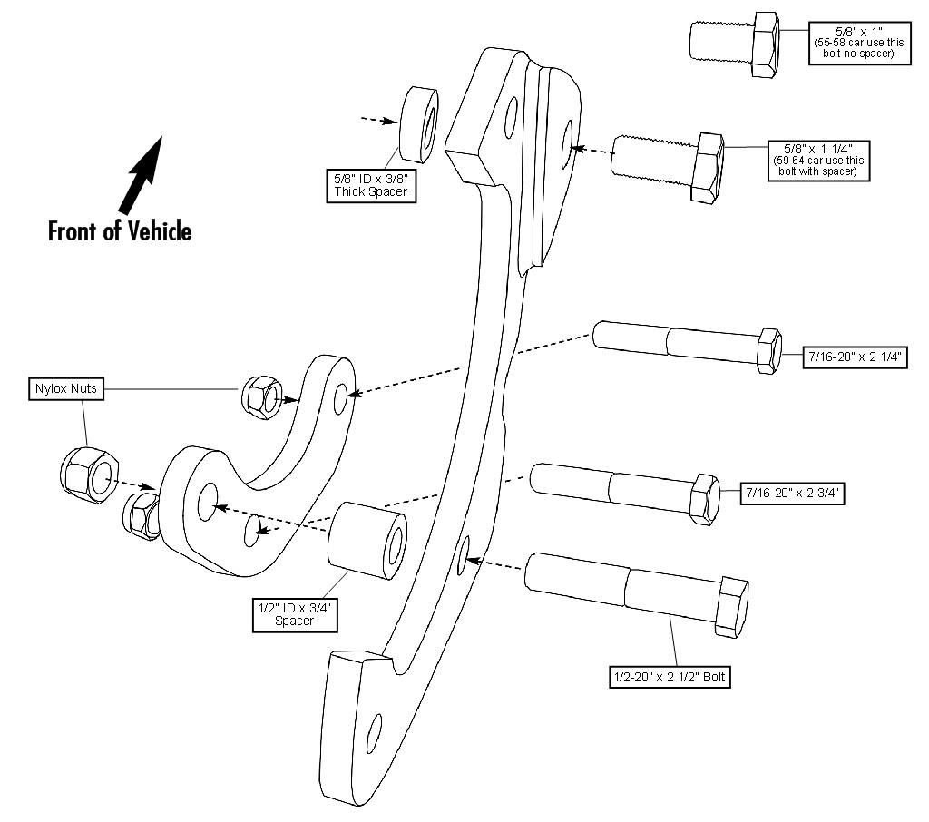 55 64 Chevy Full Size Car Stock Spindle Disc Brake Kit