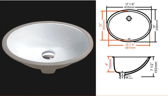 Oval Porcelain Undermount Bathroom Sink 15 25 Quot X 12