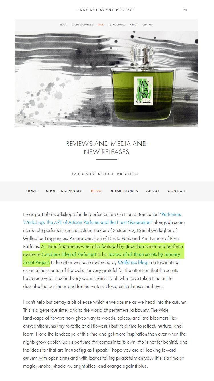 Perfumart na mídia - Blog January Scent Project