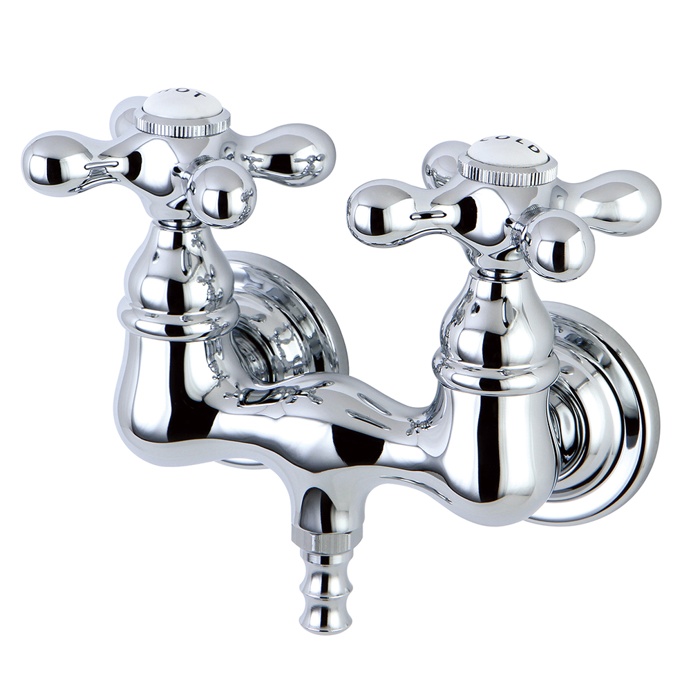 clawfoot bathtub filler faucet 3 3 8 on center tub wall mount polished chrome metal cross handles