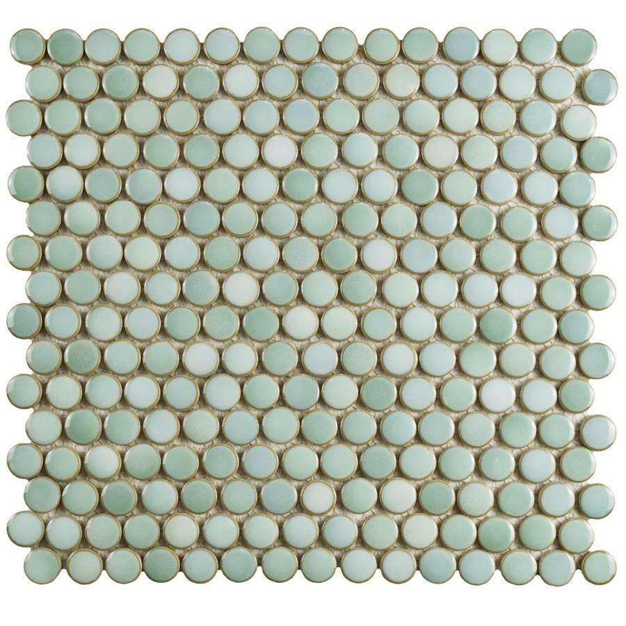 hudson penny round 3 4 glazed porcelain mosaic tile mint green per case of 10 sheets 10 74 sq ft