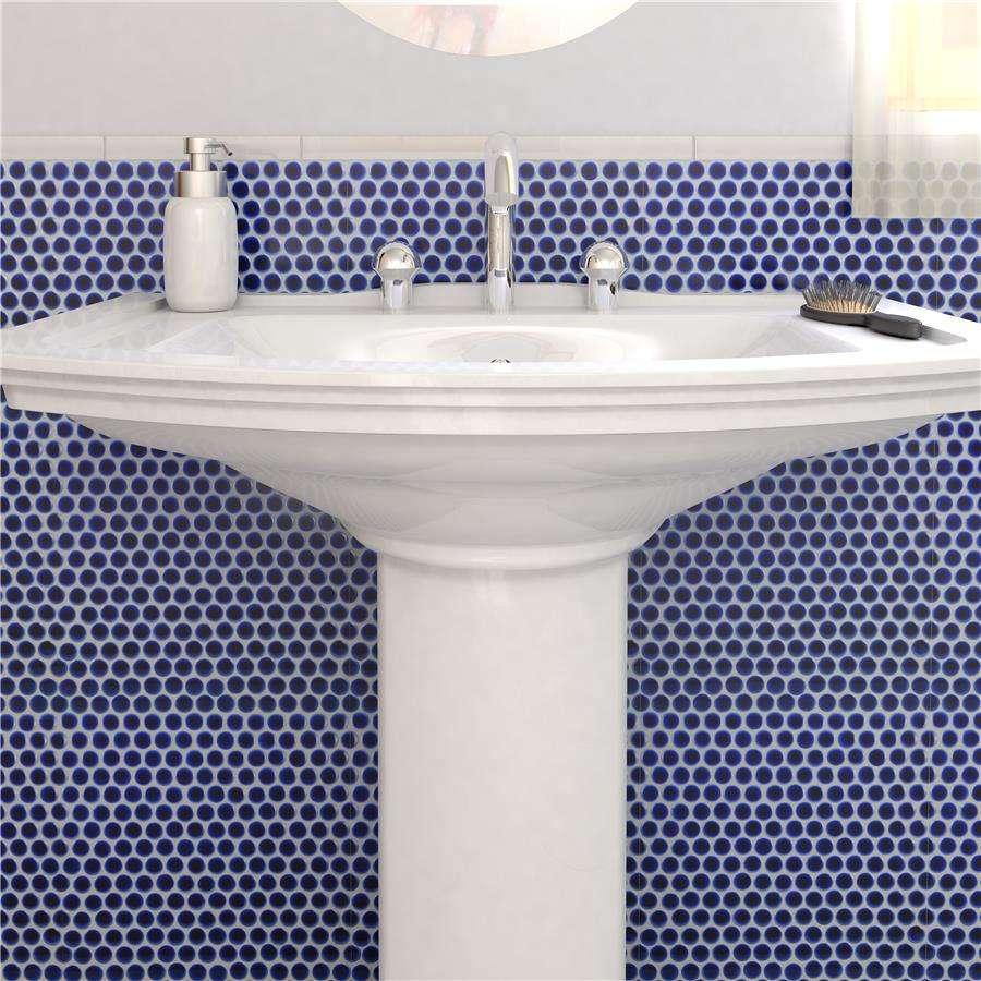 hudson penny round 3 4 glazed porcelain mosaic tile cobalt blue per case of 10 sheets 10 74 sq ft