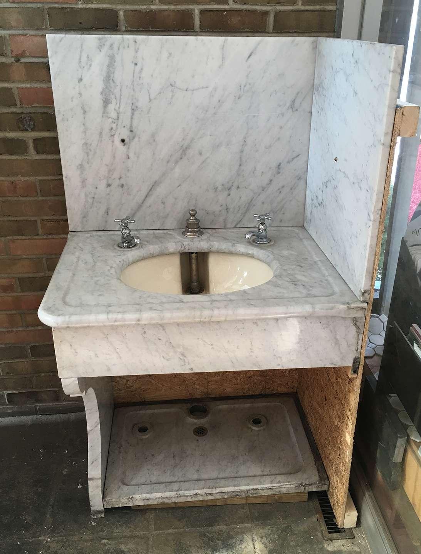 antique circa 1900 marble corner bathroom sink with porcelain bowl