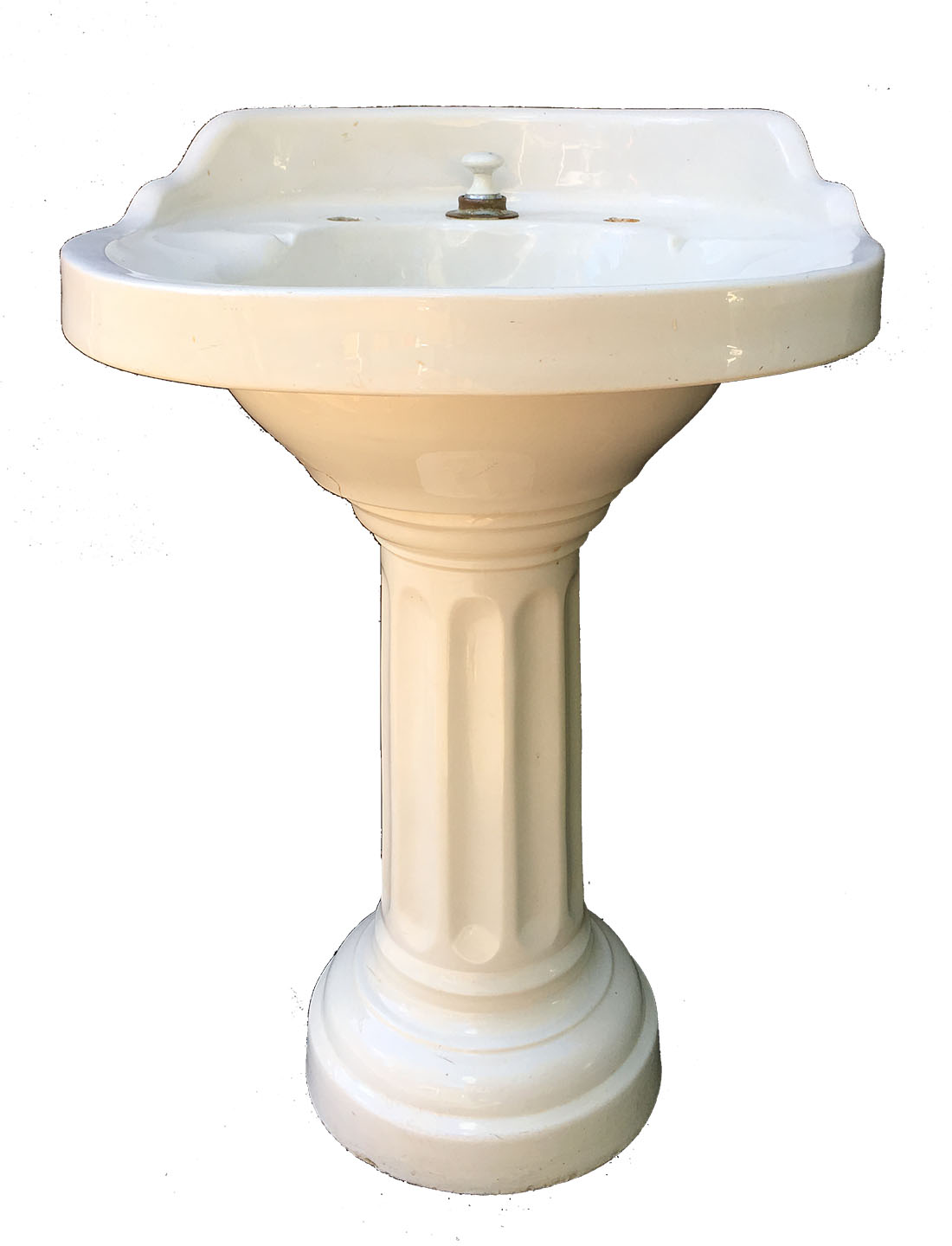 antique eljer comfort vitreous china round pedestal sink with fluted base circa 1918