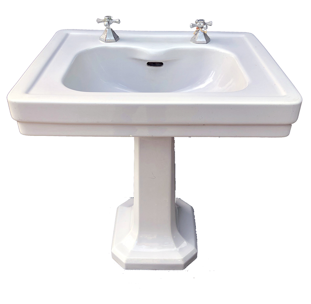 antique standard tiffin gray vitreous china pedestal sink circa 1929