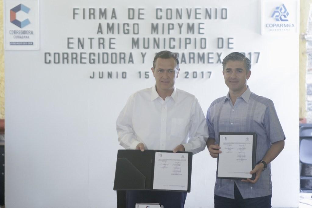 Corregidora y Coparmex firman convenio de colaboración, para apoyar a empresarios