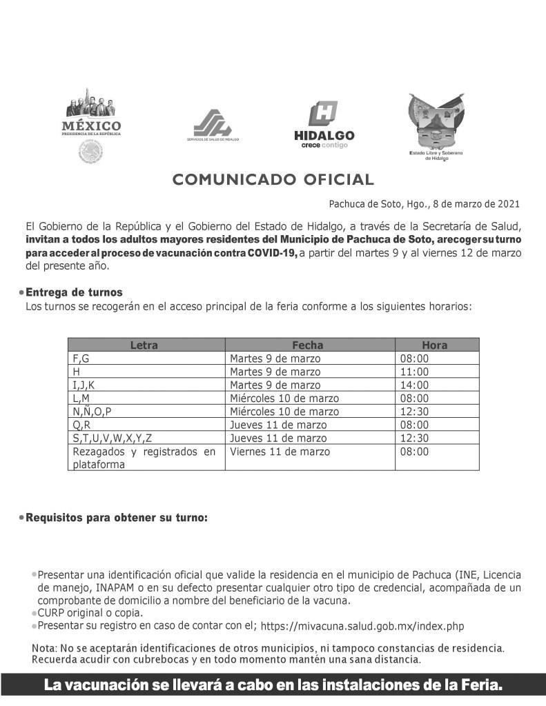 Ahora será por turnos para acceder a la la vacunación contra Covid-19 en Pachuca. Esto será conforme a las letras del abecedrario, conforma la siguiente tabla.