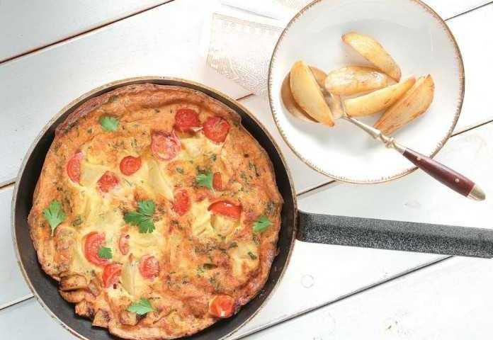 Τορτίγια με πατάτες φούρνου και τυριά