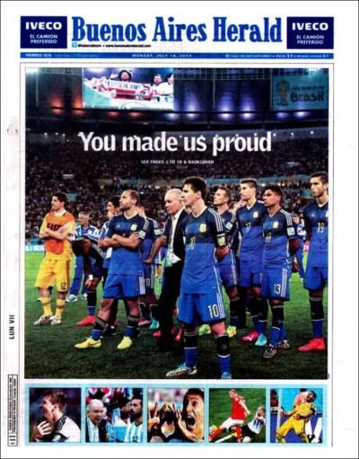 "Buenos Aires Herald: ""You made us proud"" (""Nos hicieron sentir orgullosos"")"