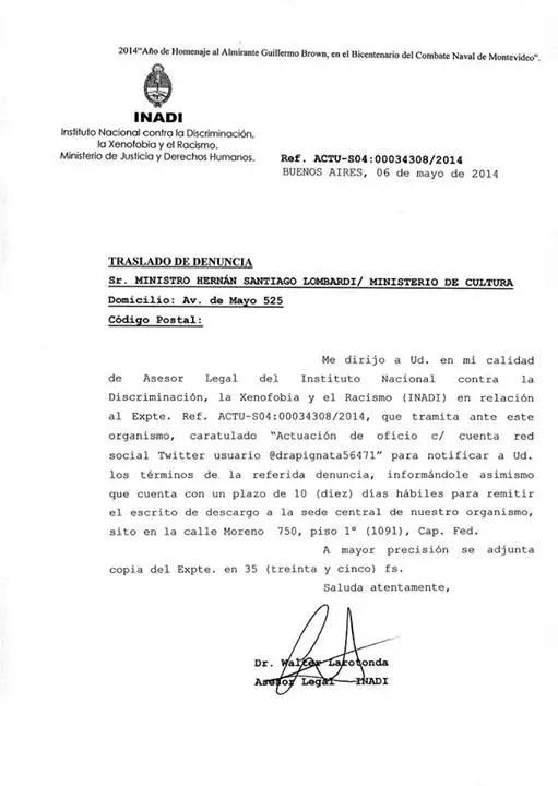 La notificación de la denuncia que el INADI le abrió a Lombardi