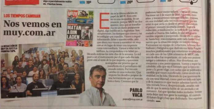 Editorial de Pablo Vaca en el último número en papel del diario Muy