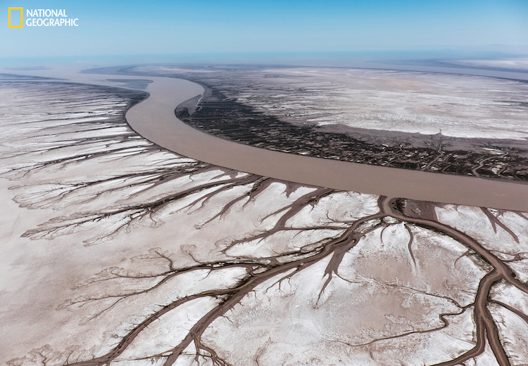 Aerial shot was taken in Baja California, where Colorado river meets the ocean