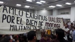 Las protestas contra Jaime Bonilla, presidente de Morena en Baja California.