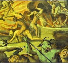 Frescos del Infierno en una iglesia