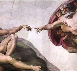 la Creación de Adán, en la Capilla Sixtina.