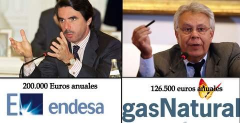 Felipe Gonzalez y José María Aznar con sus amos