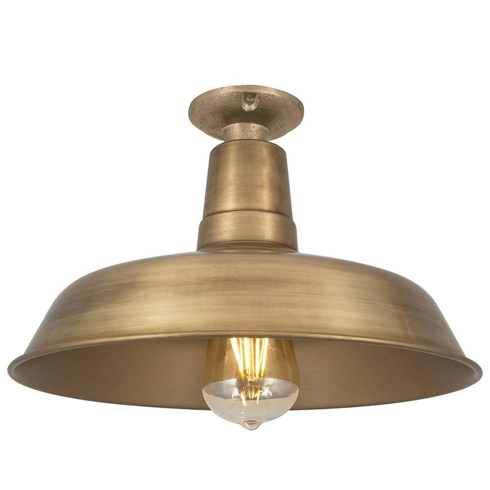 industville vintage industrial style flush mount farmhouse ceiling light brass