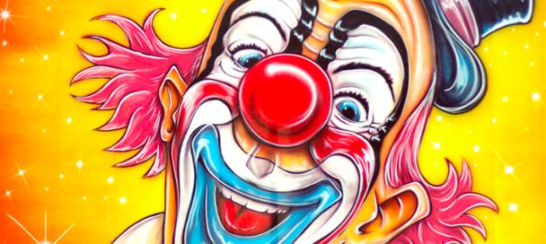 Gezeichneter, grellbunter Clown