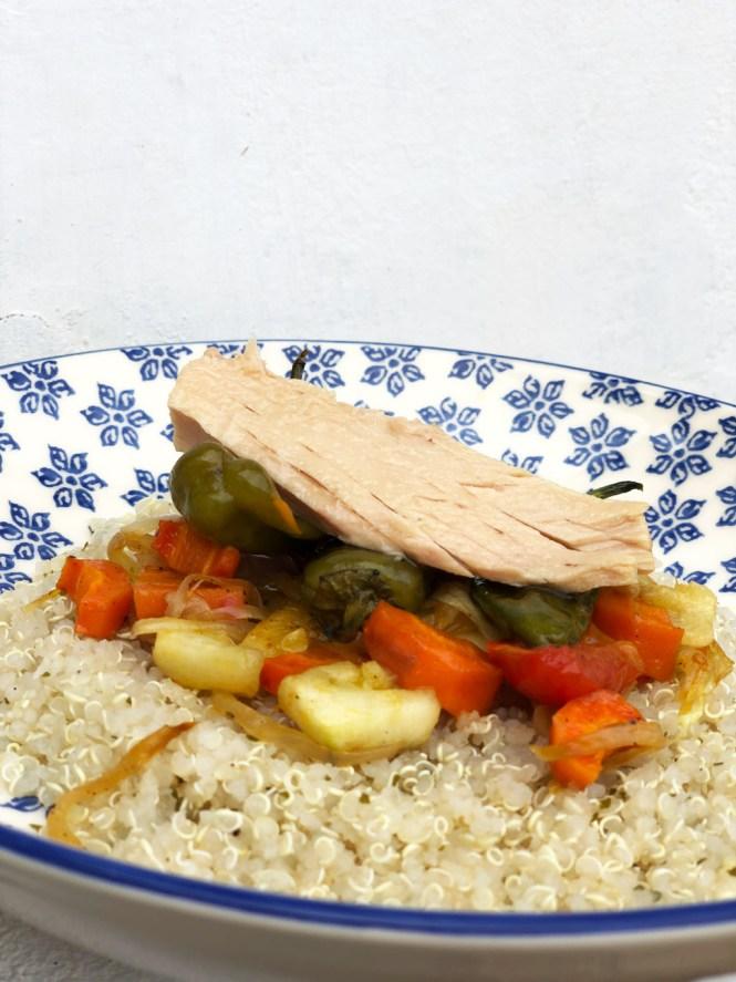 Receta ensalada de quinoa y pimientos de padrón