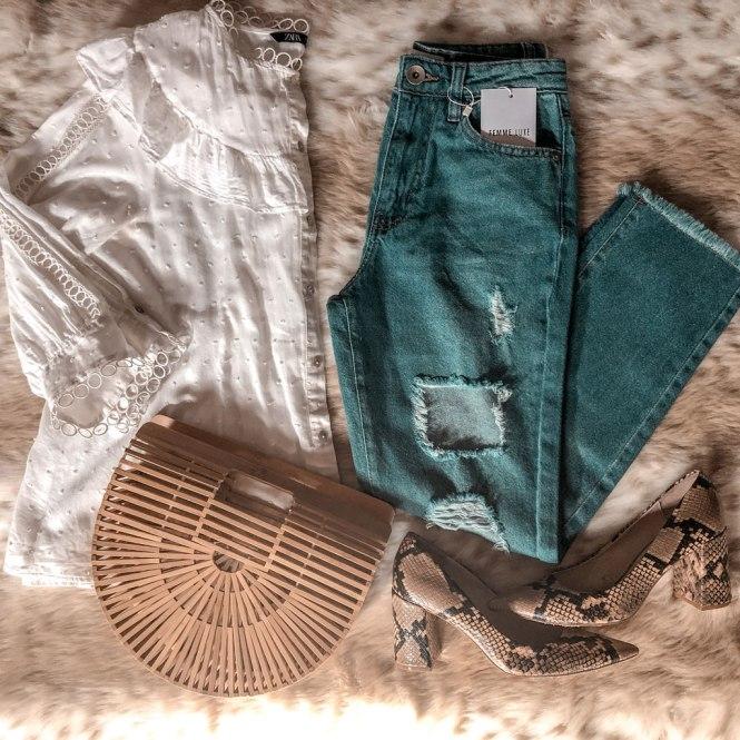 Jeans lavado medio Femme Luxe