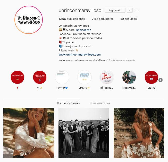 Instagram de Un Rincón Maravilloso.
