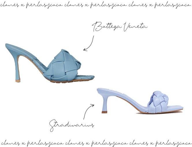 Clon sandalia Bottega Veneta VS Stradivarius