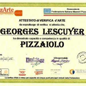 Diplôme de Pizzaiolo - Georges Lescuyer