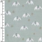 Jersey Cotton Fabric Rico Design Elephants Mint Gold X10cm Perles Co