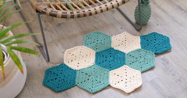 diy tapis losange au crochet avec