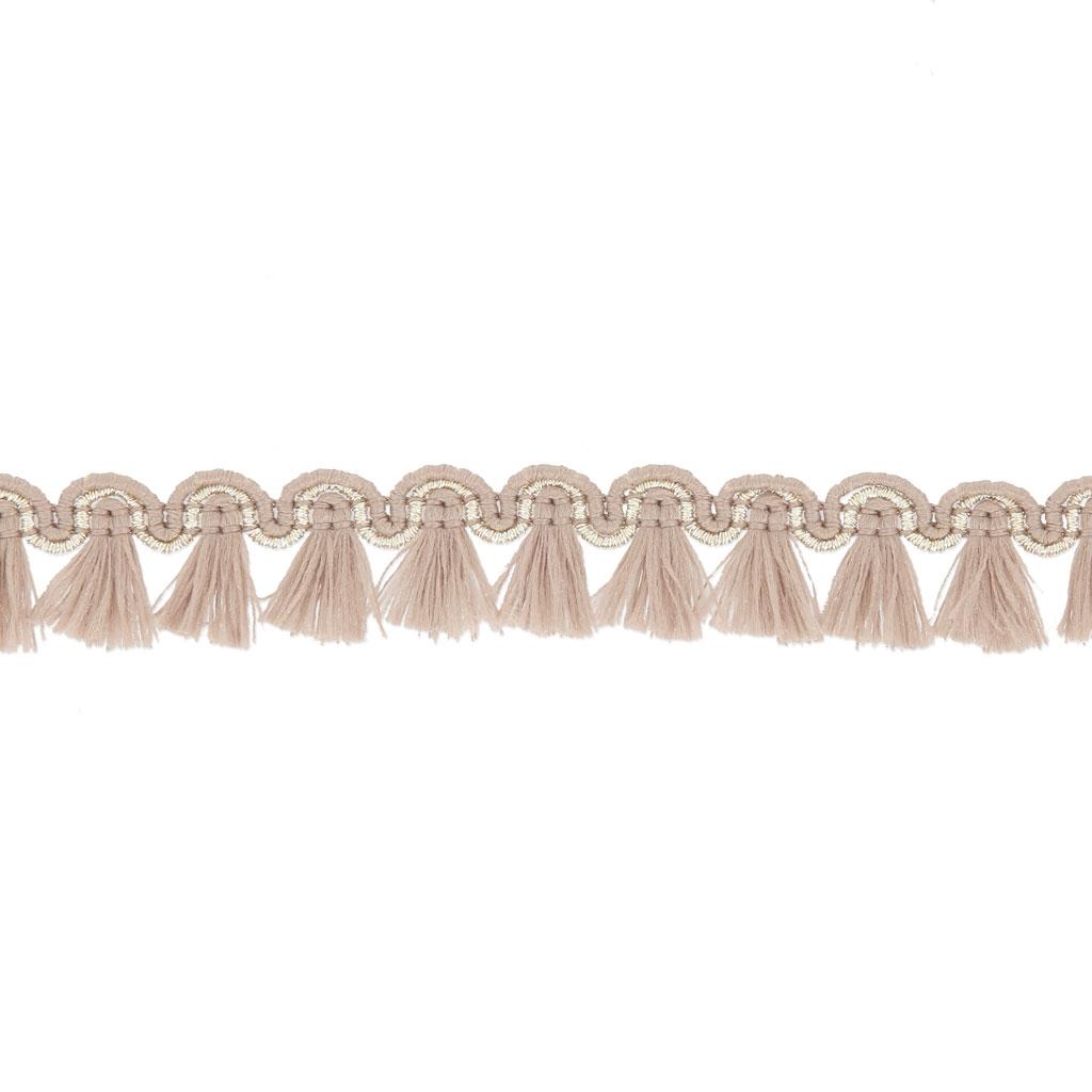 galon de petits pompons et pampilles a frange 13 mm beige dore x1m