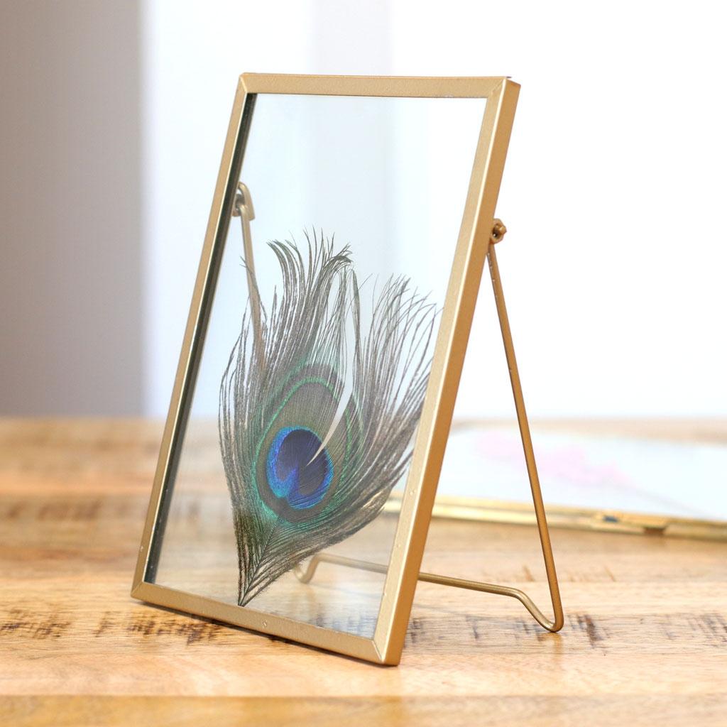 cadre photo rectangle a poser pour herbier en verre et metal 180x130x7mm x1