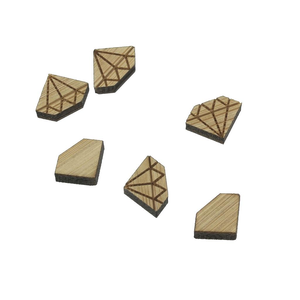 mini cabochon en bois laser cut forme diamant a decorer et a peindre 8x11mm x1
