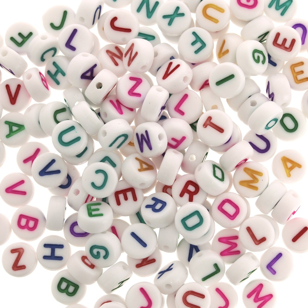 assortiment de 200 perles lettres alphabet rondes 7 mm blanc multicolore