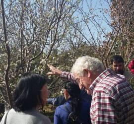 Juan Antón enseñando su bosque comestible