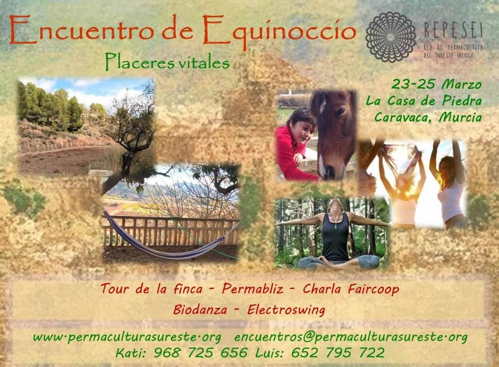 Cartel Encuentro de Equinoccio Placeres Vitales REPESEI – 23, 24 y 25 de Marzo 2018 – La casa de Piedra, Caravaca, Murcia