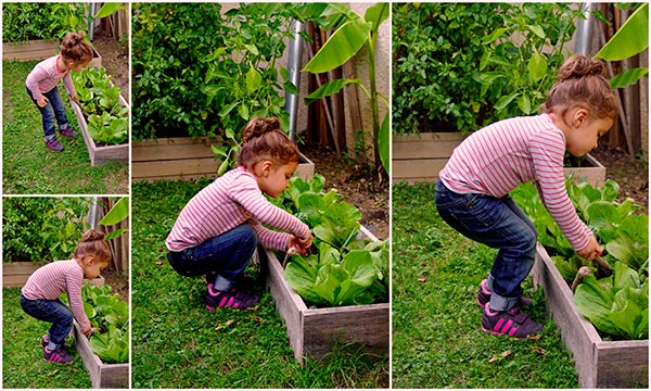 Un enfant cultivant son jardin en permaculture