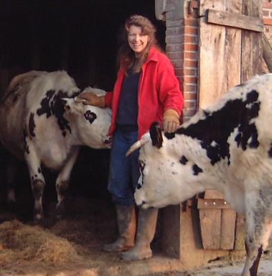 Fiona Hanson with happy cows