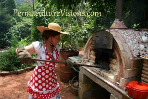 April and the Pizza oven