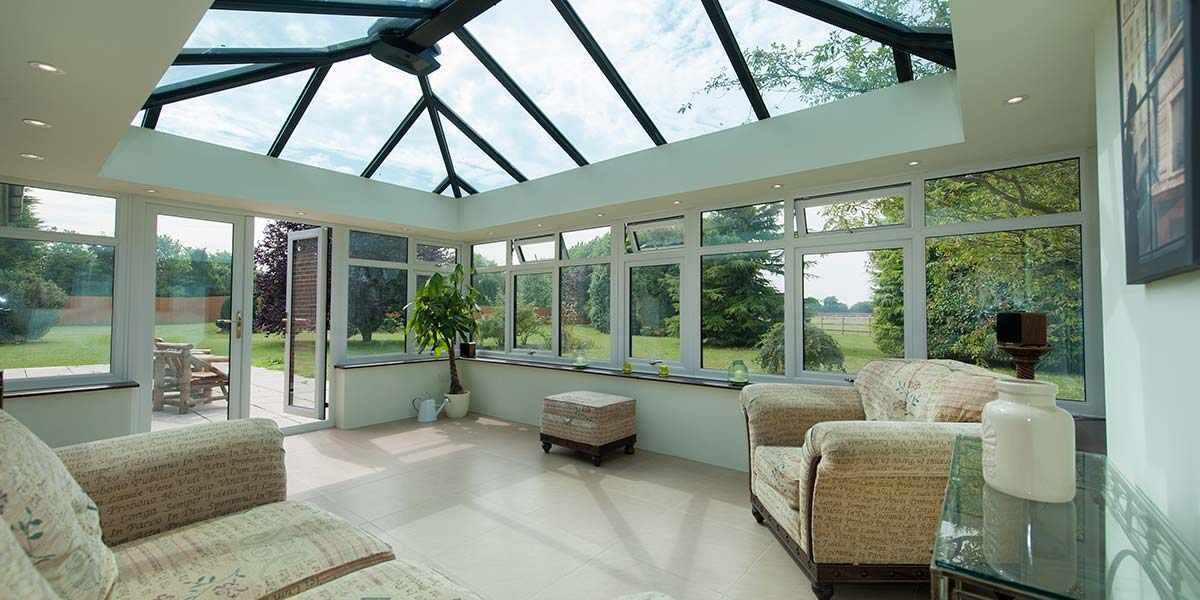 Large Black Conservatory With French Doors Amp Glass Roof