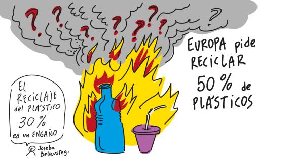 Kontenedoreetako plastikoen ehuneko zenbat birziklatzen da? Badirudi %30a besterik ez dela, Europako instituzioek %50a eskatzen duten bitartean.