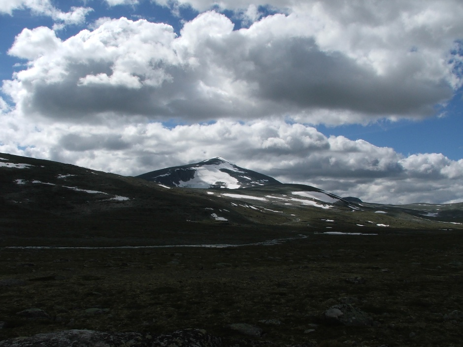 1. NORWEGIA, Dovrefjell. Snohetta to najwyższy szczyt Parku Dovrefjell. Widać ją już u początku wędrówki na jej szczyt, jednak to tylko złudzenie, że droga nie jest długa i męcząca. (Fot. Jadzia Ruszel i Krzysiek Miszkiewicz)