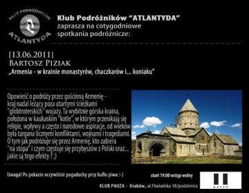 O autostopowej podróży przez Armenię opowie Bartosz Piziak.