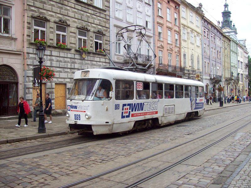 Tramwaj w centrum Lwowa