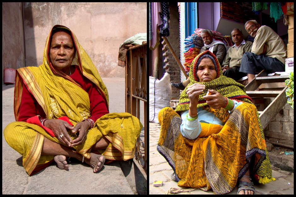 Hinduskie kobiety czekające na autobus
