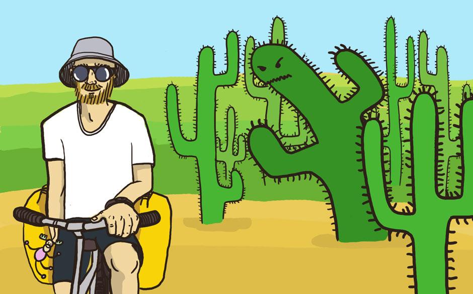 Piotr Strzeżysz jedzie przez pustynię