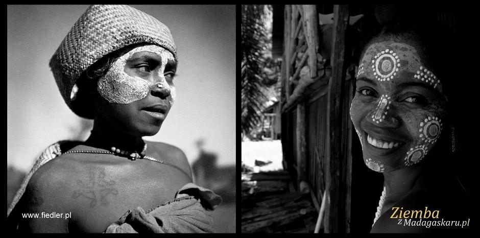 Kobiety z Madagaskaru i ich tradycyjny makijaż. Stare zdjęcia z podróży Arkadego Fiedlera i współczesne - Arka Ziemby.