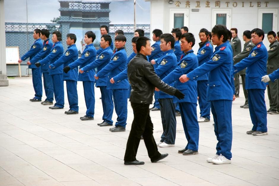 Poranne ćwiczenia chińskich żołnierzy